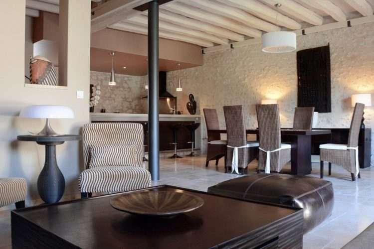 Family accommodation - gite lounge dining.