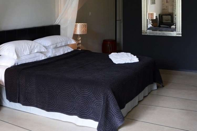 black white suite interior feature
